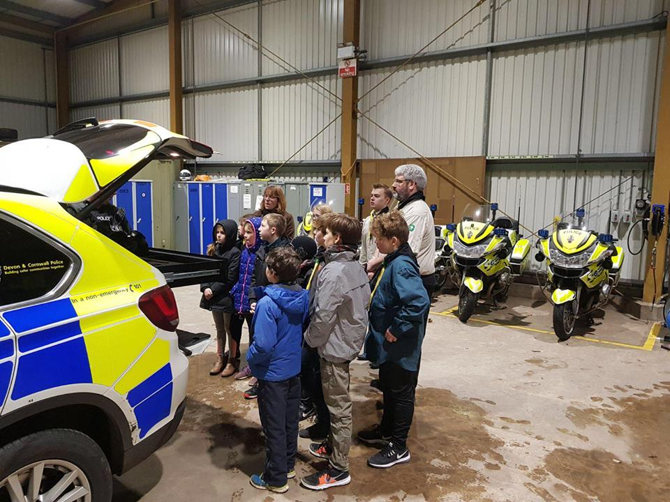 Escot Scout troop visit to Middlemoor Police HQ